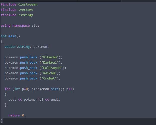 using vectors in c++